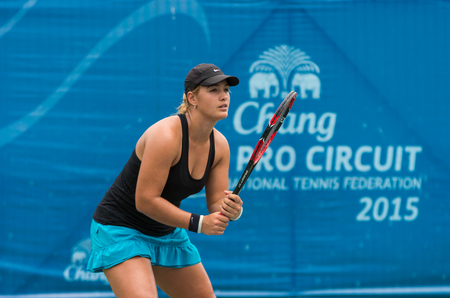 annie: BANGKOK, MAY 27 : Annie Donaldson of Australia action in Chang ITF Pro Circuit 4 International Tennis Federation 2015 on WS main draw at Rama Gardens Hotel on May 27, 2015 in Bangkok Thailand.