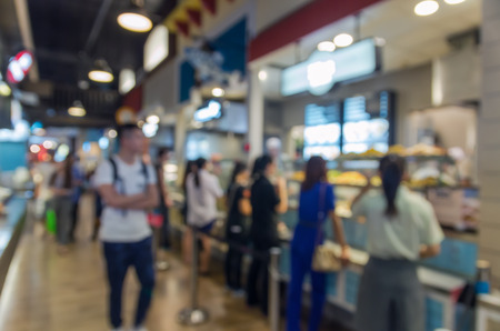 food court: food court store blur background with bokeh Stock Photo