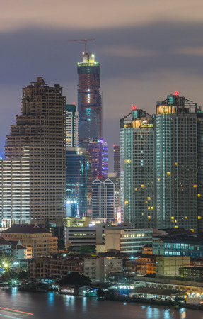 river view: Bangkok cityscape river view at twilight time Stock Photo