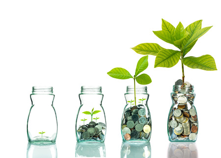 Mix coins and seed in clear bottle on white background,Business investment growth concept Zdjęcie Seryjne