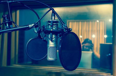 dark backgrounds: Professional condenser studio microphone, Musical Concept