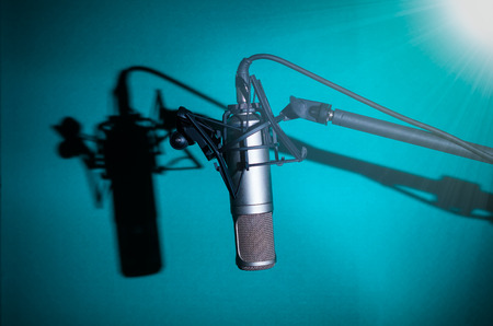 condenser: Professional condenser studio microphone with shadow, Musical Concept