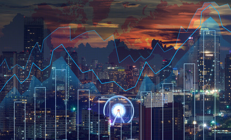 financial world: Trading graph on the cityscape at night and world map background,Business financial concept Stock Photo