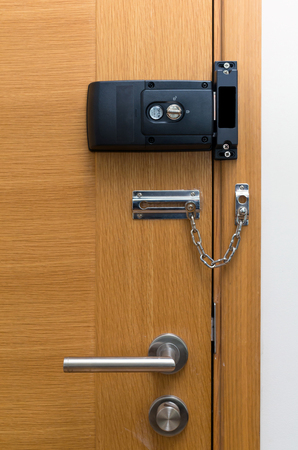 combination lock: Door lock on wooden door
