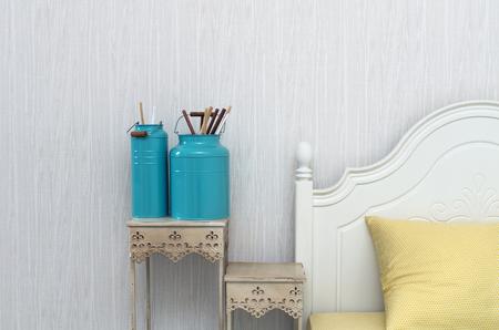 brush in: Closeup decorate paint brush in Luxury Interior bedroom