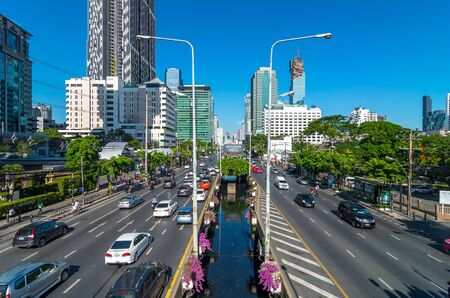 timelapse: BANGKOK - JUNE 30, 2015: Traffic on the sathorn road at the morning as working hour on July 30, 2015 in Bangkok, Thailand. sathorn business district is the center of bangkok.