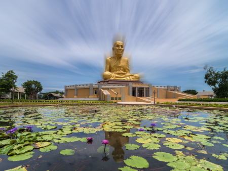 zooming: The Big Buddha of Uttayarn Maharach Project, Ayutthaya, Public domain, zooming effect process Stock Photo