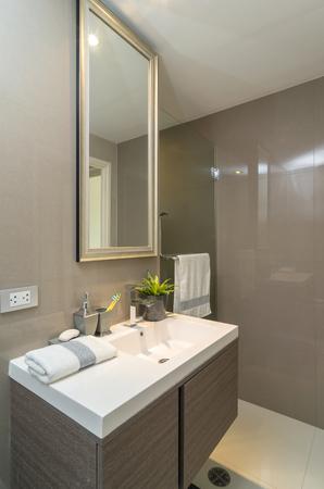 cuarto de baño: Lujo bathtoom Interior o el inodoro con la luz del gusano