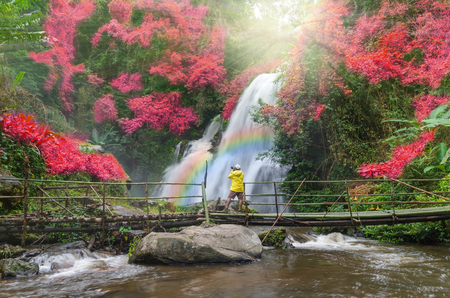 waterfall river: Beautiful waterfall in the deep forest with traveler taking photo by camera, Pa dok siew waterfall