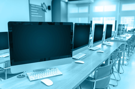 computer monitor: Computer room Stock Photo