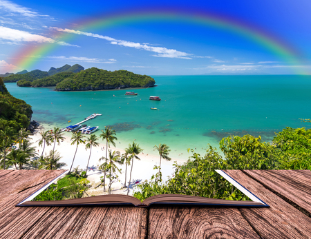 ang thong: Open book image of Top view of Ang Thong National Marine Park with rainbow, Thailand