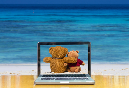 cloud computer: Conceptual image of a computer laptop on two teddy bear brown color sitting on the beautiful beach with blue sea and sky