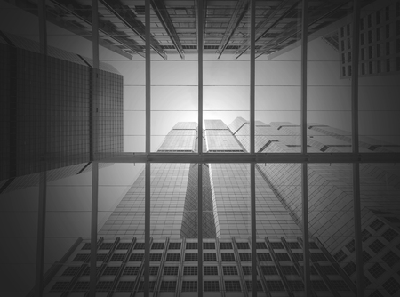reverberation: Modern business building glass of skyscrapers, black and white tone, Business concept of architecture