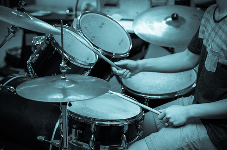 drummer: Drummer in the studio, music concept Stock Photo