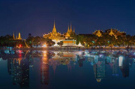 reflect: Grand palace river side reflect with Landscape Bangkok city, abstract photo Stock Photo