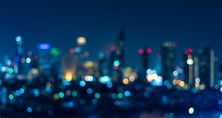 bokeh: Cityscape bokeh, Blurred Photo, cityscape at twilight time Stock Photo