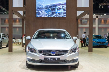 t5: BANGKOK - APRIL 3 : Volvo V60 T5 Special edition on the stage show in The 36 th Bangkok International Motorshow , on April. 3, 2015 in Bangkok, Thailand Stock Photo