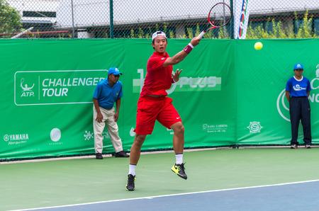 ze: BANGKOK, SEPTEMBER 1 : Ze Zhang of China action in CHANG-SAT BANGKOK OPEN 2015 at Rama Gardens Hotel on September 1, 2015 in Bangkok Thailand. He won in this match