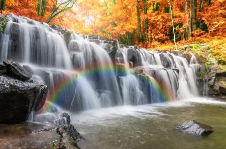 waterfall river: Beautiful waterfall in the forest with rainbow, Sam lan waterfall, Thailand