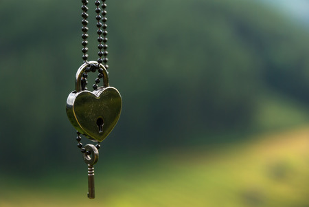 key: heart shape Lock and key on green background