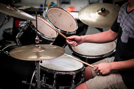 Drummer in the studio, music concept Stock Photo