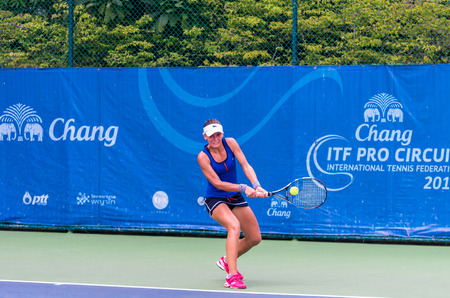 lou: BANGKOK, SEPTEMBER 30 : Lou Brouleau of France action in CHANG ITF PRO CIRCUIT 2015 at Rama Gardens Hotel on September 30, 2015 in Bangkok Thailand. she loss in this match