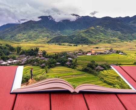 nature image: conceptual book image of Traveler take picture at Rice fields on terraced of Tu le District, YenBai province, Northwest Vietnam