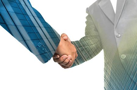 double glass: Double exposure handshake between businessman on Modern glass building background Stock Photo