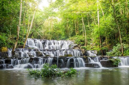 cataract waterfall: Beautiful waterfall in the forest, Sam lan waterfall, Thailand
