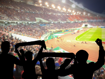 fans: Silhouettes of football fans cheeringagainst large football stadium with lights, sport concept Stock Photo