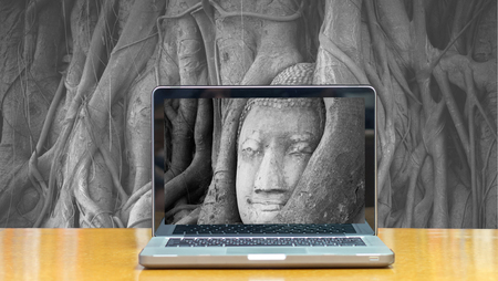 head in the sand: Conceptual image of a computer laptop on Head of sand stone buddha in a tree at Wat Mahathat, Ayutthaya, Thailand, public temple
