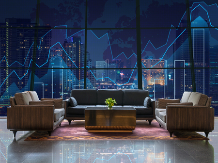 concept hotel: Lobby area of a hotel which can see Trading graph on the cityscape at night and world map background,Business financial concept