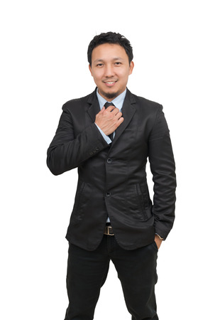 Asian businessman on white background, include clipping path Foto de archivo