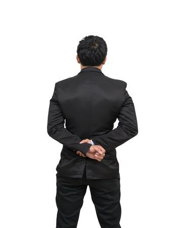 Face arrière d'un homme d'affaires avec ses mains derrière lui, Inclure chemin écrêtage