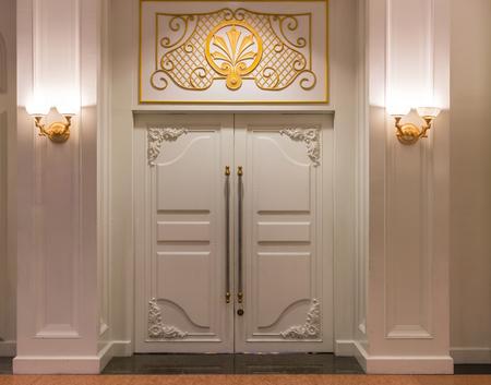 room door: Closed door of meeting room in a luxury hotel