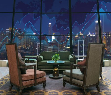 trading floor: Lobby area of a hotel which can see Trading graph on the cityscape at night and world map background,Business financial concept