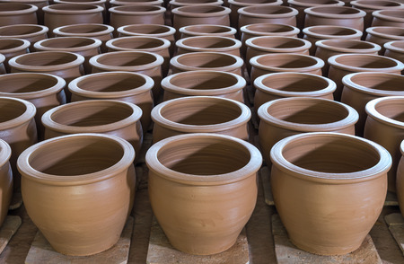 earthen: stack of earthen jar Stock Photo