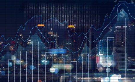 comercio: Gráfico de la negociación en el paisaje urbano en el fondo del mapa del mundo y de la noche, concepto financiero de negocios