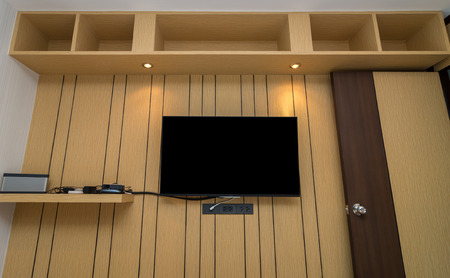 bedroom furniture: Luxury Interior bedroom, furniture on the wooden wall in bedroom