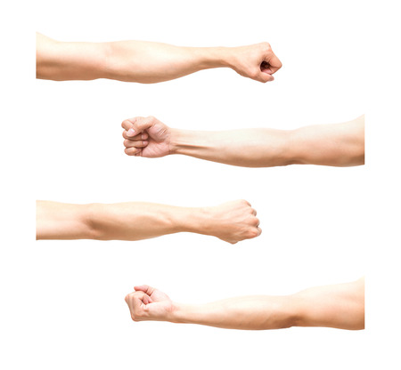 male arm: sum 4 pic of Arm in fist action on white background,include clipping path