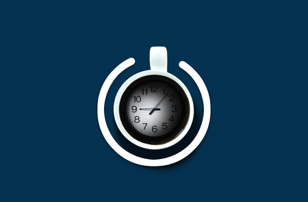 poweron: Coffee cup Look like power-on symbol with clock time over the dark blue background. Energy and active concept