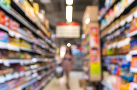 convenient store: Supermarket blur background with bokeh, Miscellaneous Product shelf