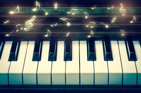 acoustic systems: Closeup keyboard of piano with music notes, musical instrument