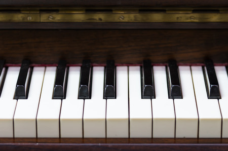 acoustic systems: Closeup keyboard of piano, musical instrument Stock Photo
