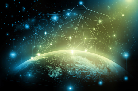Part of earth with network line and point on the star and dark background, Internet Network concept, Elements of this image furnished by NASA