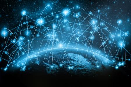 Parte di terra con linea di rete e punto sulla stella e la via della Via Lattea, concetto di rete Internet, elementi di questa immagine forniti dalla NASA Archivio Fotografico