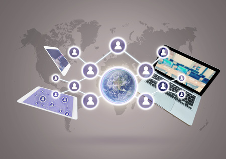 devise: Social network with Technology devise on world map background, Elements of this image furnished by NASA, Business network concept