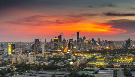corporate buildings: Bangkok cityscape at twilight time