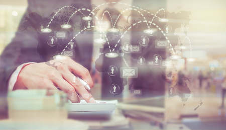 business innovation: Businessman analyze information over the Worldwide connection technology interface, Elements of this image furnished by NASA, Business technology concept