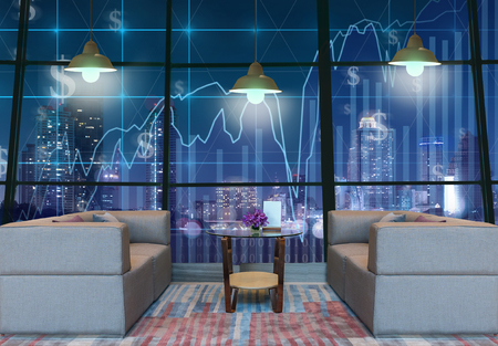 trading floor: Lobby area of a hotel which can see Trading graph on the cityscape at night background with lighting,Business financial concept